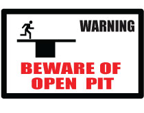 Printable Beware of Open Pit Sign