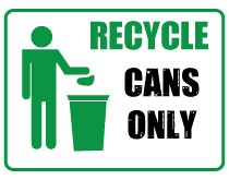 Printable Recycle Cans Only Sign