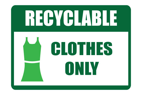 Printable Recycle Clothes Only sign