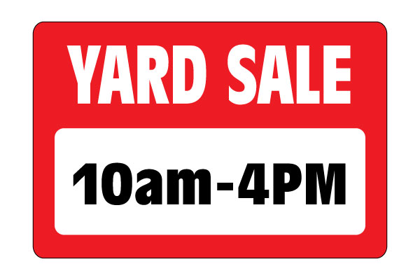 Printable Yard Sale Sign - 10am to 4pm