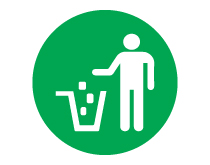 Put Waste in Trash Green Icon Sign