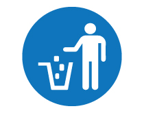 Put Waste In Trash Icon Sign Blue