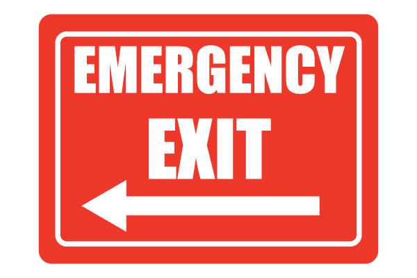 Emergency Exit with Arrow Sign