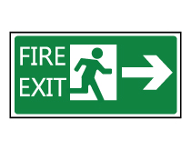 Fire Exit with Arrow Sign
