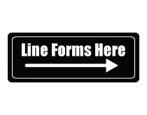 Line Forms Here Sign